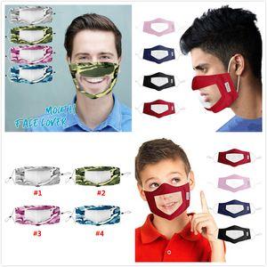 Tarnung Taubstummen Maske PVC Transparent Gesichtsmasken Einstellen Staubdichtes Mundmasken Waschbar Earloop Gesicht Atem Baumwolle Maske DHL UPS