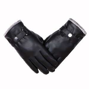 Men Winter Warm Gloves Retro Thickened PU Leather Touchscreen Gloves Plush Cuff Outdoors Anti-Skid Gloves For Men