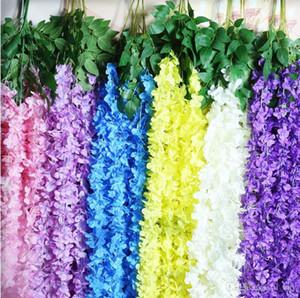 2018 High-end Encryption Hydrangea Flower Vine Three Forks Wisteria Rattan Decorative Flowers Wall Hanging Craft Ornament