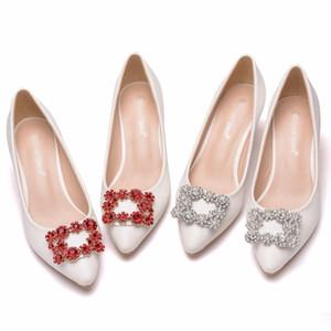 5 CM tacón fino para mujer zapatos de boda de moda nupcial bombas para mujer zapatos de punta estrecha zapatos femeninos altos