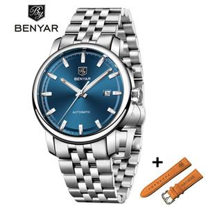 BENYAR Negócios Mens Relógios Mecânicos Set Waterproof Couro Marca de luxo Automatic Relógio de pulso Relógio Relógio Masculino