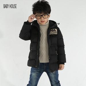 Warmer neue Marken-Winter-Jacke für Jungen Lange Dicke Jungen Winter Mäntel Doudoune Enfants mit Kapuze Jungen Jacke B524