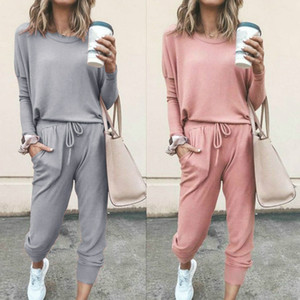 women solid sporting casual two piece set Long sleeve top above pants tracksuit outfit Suit Comfortable Sportswear Y200706