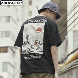 Zroadlop japonés Ukiyo Cat Wave impreso Streetwear camisetas 2019 verano para hombre Hip Hop Casual manga corta Tops camisetas masculinas Y19050701