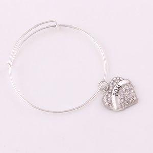 Design de mode en forme de coeur gravé lettre pendentif en cristal POM SURVIVOR ma fille CLASSE DE 2015 BIG SIS lettre coeur réglable Bracelet