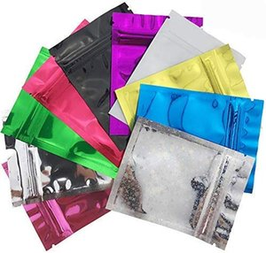100 шт Resealable пахнут Proof Сумки Фольга Сумки сумка Плоский металлический Майларовый Фольга Плоский Ziplock для хранения продуктов мешок смешивания цветов