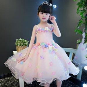 2019 Новый слинг шифон Аппликация принцессы платье девушки цветка Baptism венчания партии День рождения платье платье Туту 1-12 Y