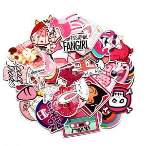 50 PC / paquete de PVC impermeable lindo VSCO muchachas rosadas pegatinas bebé juguetes El equipaje para moto coche Maleta etiquetas engomadas frescas del ordenador portátil