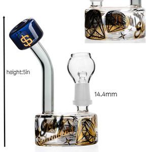 5inch plate-forme pétrolière de recycleurs de verre Bong en verre épais verre d'eau Bongs dab truque 14.4mm