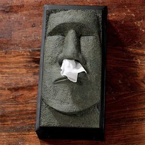 Doku saklama kutusu yaratıcı Kafa Yüz Mendil Tutucu Kapak Dispenser Yüz Easter Island Retro Ev Organizasyon vaka #C Y200328