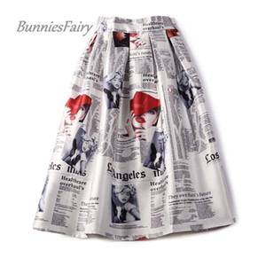 Bunniesfairy 2018 Estate New 50s 60s Vintage Retro Lady Giornale Stampa vita alta pieghettato Gonna Midi flare Saia Longa Plissada Y19043002