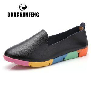 DONGNANFENG Frauen Wohnungen Mutter Damen Damen Schuhe Loafers Kuh echtes Leder Pigskin Beleg auf Feminino Peas 35-44 AZE-912