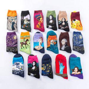 DESIGNER chaussettes pour hommes Starry Sky Bas célèbre peinture Tideway long tuyau Mona Lisa Peinture à l'huile Bas Fashion Tube Chaussettes longues