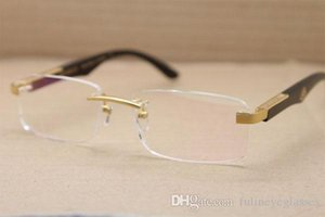 2020 New Rimless Mbybach Óculos praça The Black ARTISTA chifre de búfalo Óculos Homens populares metal Óculos Tamanho: 56-18-135mm