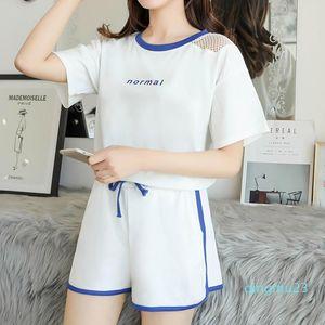 fashion-Yoga 2pcs Women Suit Set T Shirt Sleeveless Tops + Shorts Fitness Running Yoga Gym Sports Suits