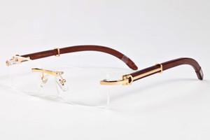 Luxe marque lunettes de soleil cerclées design pour les hommes 2017 la mode des lunettes de corne de buffle rétro en bambou bois brun noir lunettes de soleil de lentilles en verre clair