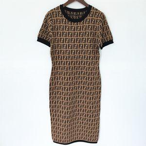 Women high quality knitted dress Europe-America classic dresses luxury FF Ice silk slim dress jacquard short sleeve knitted dress selling