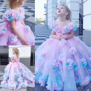 Nuovo 2020 ragazze Pageant Abiti di sfera Cap maniche a sbuffo increspati Little Kids formali abiti del partito Flower Girl Dress Colorful