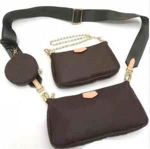 Sıcak iyi Qualtiy çanta üç çanta tek fiyat Erkekler Ve Kadınlar Messenger Çanta çoklu poşet aksesuarları Retro Gerçek Deri sikke cüzdan zincirleyin