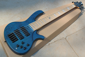 끈 사이에 19mm 새로운 5 개의 끈 까만 기계 설비, 백색 진주 상감 세공을 가진 해군 파란 몸 전기베이스 기타는, 주문을 받아서 만듭니다