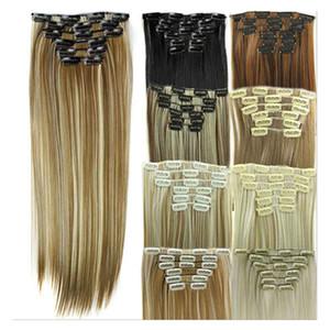 6 pçs / definir clipe sintético em extensões de cabelo cabelo direto 24 polegadas 140g clipe sintético em extensões de cabelo D1014