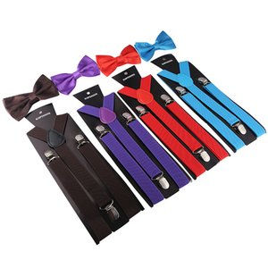 20PCS Suspenders with Bow Ties Set Color Mixing Charming Y-Back Braces Butterfly Adult Adjustable Bowtie Fashion