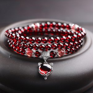 Природные 6А Вино Красный Гранат браслеты 925 стерлингового серебра ювелирные изделия для женщин Природные Gemstone Fox Тыква Pixiu Снежинка Шарм лучший подарок девочек