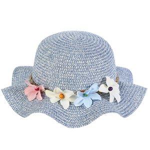 2019 New Summer Детские соломы Sun Hat цветок дышащий Детские шапки Мальчик девушки шапки Марка малышей Принцесса цветочные Ruffle пилотка