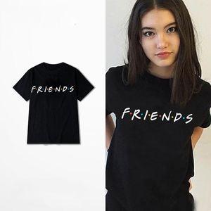 Della moda di New Estate amici delle donne Stampato normale cromatico: Maniche corte T-shirt Simple supera Nero Bianco T-shirt