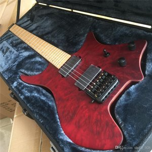 Envío gratuito de latón de una silla puente tapa de arce flameado rojo sin cabeza de la guitarra eléctrica Guitarra Corporal individual Encuadernación Todos los colores disponibles
