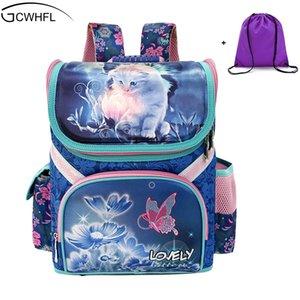 Gcwhfl Mädchen Schulrucksäcke Kinder Schultaschen Orthopädische Rucksack Katze Schmetterling Tasche Für Mädchen Kinder Schulranzen Rucksack Mochila J190521