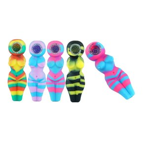 4.1 Inch Sexy Woman Silicone Smoke Pipe FDA Water Pipe Bong With Glass Bowl Oil Rig MOQ 1 Piece