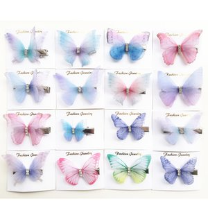 Beautiful Rhinestones Double Layers Tulle Butterfly Hair Clip For Women Girls Hairpin Gauze Butterfly Hair Accessories kids hairpins