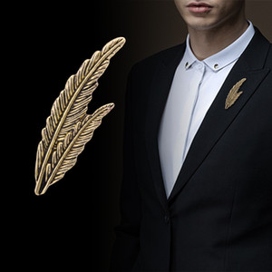 Retro Metal Feather Leaf Brooch Men Suit Shirt Lapel Pin Corsage Dress Badge Brooches For Women Fashion Jewelry Accessories