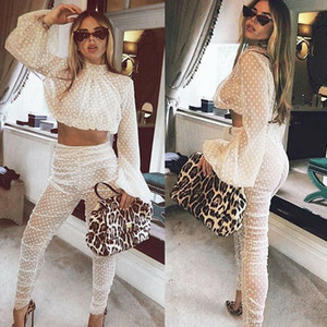 2PCS Sexy Women Sheer Long Sleeves Bodycon Club Mesh Crop Top + Pants 2019 New Casual Jumpsuit Playsuit
