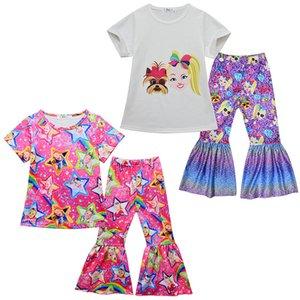 JoJo Сива лета ребёнков обмундирования с коротким рукавом футболки Топы + Flared брюки 2шт / компл Бутик моды Детская одежда Комплекты Z0365
