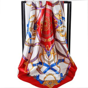 New Designer Scarf for Women Spring Letter Pattern Luxury Scarves High Quality Polyester Silk Long Shawls 90*90 cm