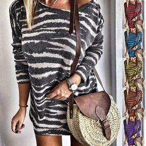 Womens Flora gedruckt Kleid Frauen mit U-Ausschnitt Striped Rock-Frauen langärmeliges Kleid Weibliche Mode Kleidung