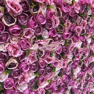 Flores de parede Artificial 3D e falsificação flor Row Usar Purple Pink Rose e hortênsias para o fundo do casamento Decoração GY628