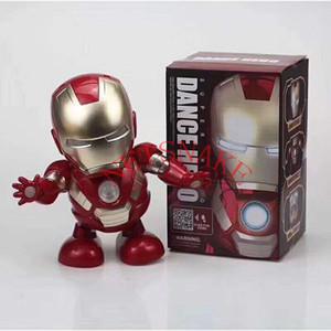 Dança Homem de Ferro Action Figure Toy robot Lanterna LED com som Avengers Iron Man Toy herói eletrônico brinquedos de crianças