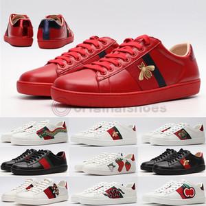 Италия Vintage Ace Bee Обуви Мода люкс платформа платье вскользь Мужчины Женщина обуви Snake Star Тройного Red White Real Leather Дизайнерских тапки