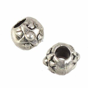 Jewelry Components Round Beads Charms Bracelet Crafts Handmade Making DIY Large Hole Antique Silver Metal New Fashion 9*8*7mm 200pcs