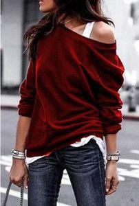 WEPBEL мягкая футболка с длинным рукавом Мода Стиль Один Shouder вскользь Женщины Хлопок Топы с плеча Блуза Plus Size