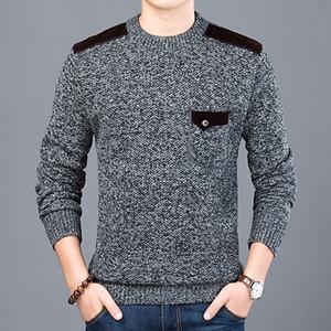 MJARTORIA 2019 Nueva informal suéter para hombre del O-cuello de tejer suéteres adelgazan los géneros de punto Puentes Otoño Invierno hombre camiseta