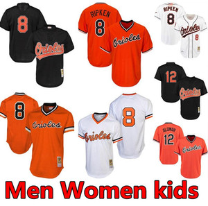 Mens & women & youth kids Baltimores High quality knit Jersey Throwback players 8 Cal Ripken Jr. 12 Roberto Alomar Baseball Jerseys