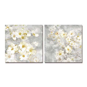 DYC 10,059 2PCS 흰 꽃 꽉 회화로 아트 준비 인쇄하기