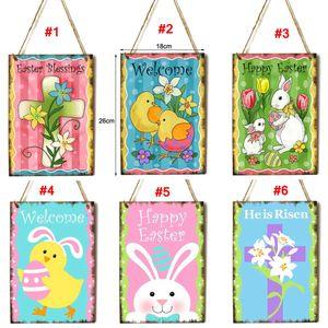 bandera de Pascua cruz colgando del arte feliz del conejito de Pascua conejo ornamento colgante puerta de la pared del pórtico colgante Pascua Decoración LJJA3676-4e