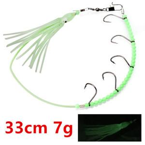 5pcs 33cm 7 g luminoso pulpo cadena gancho de pesca Ganchos Anzuelos Cebos Señuelos suaves C-034