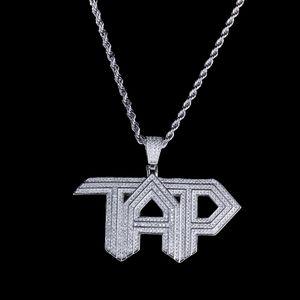 남자 힙합 쥬얼리 2019에 대한 골드 블링 지르콘 스톤 TAP 펜던트 긴 체인 목걸이 새로운