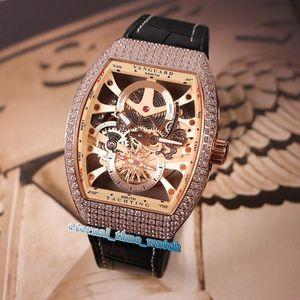 Alta Versionm NUOVI MODELLI V 45 S6 SQT ANCRE FM YA scheletro Dial cinturino in pelle oro rosa cassa del diamante meccanico automatico Mens Watch